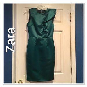 Zara Basic Green Ruffle Shoulder Cocktail Dress